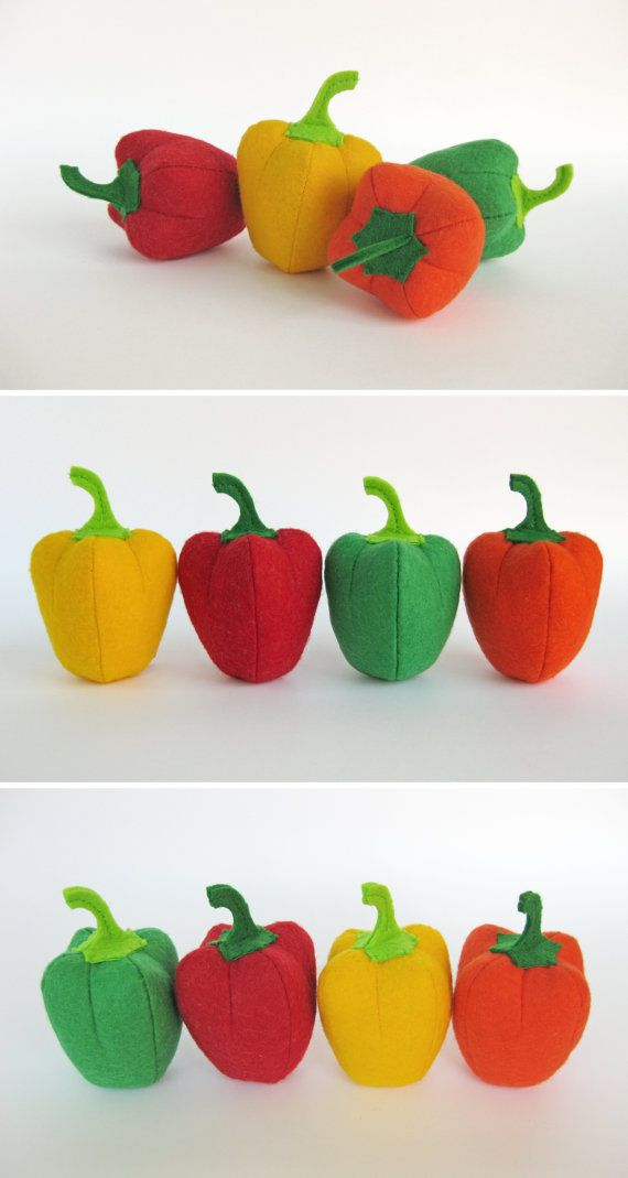 Felt Play Food Pepper Set (4 pc) Orange Yellow Red Green Realistic Toy Pretend Play Food for Kids Pepper Kitchen Play Food Fabric Vegetables