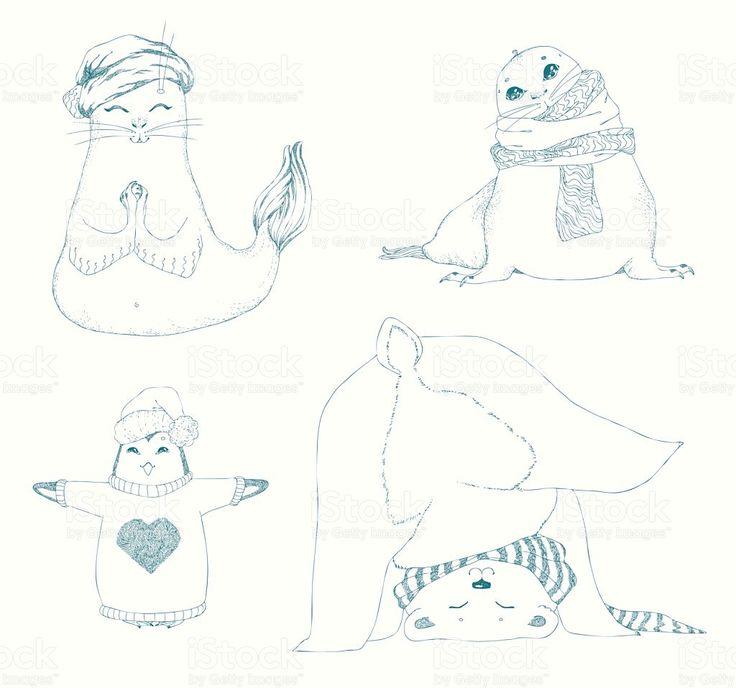 Йога животных дети установить.  Зимние виды животных, Рождественский дизайн.  роялти-фри векторной графики
