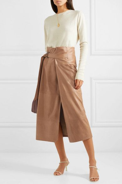 0e112a9f90 Brunello Cucinelli - Belted Leather Midi Skirt - Brown in 2019 ...