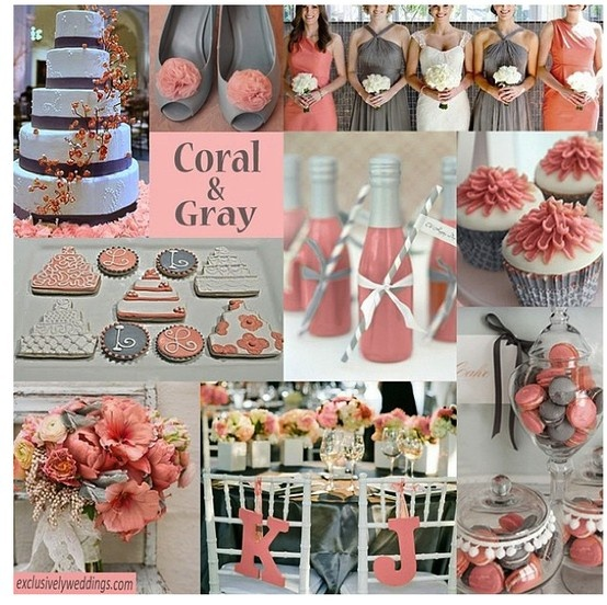 Great Colors To Pair Coral And Gray For Your Wedding