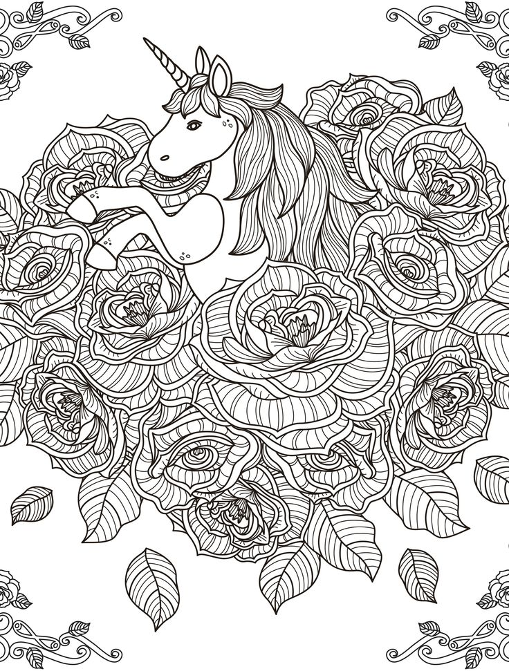 481 best images about anti stress coloring pages on pinterest Unicorn coloring book for adults