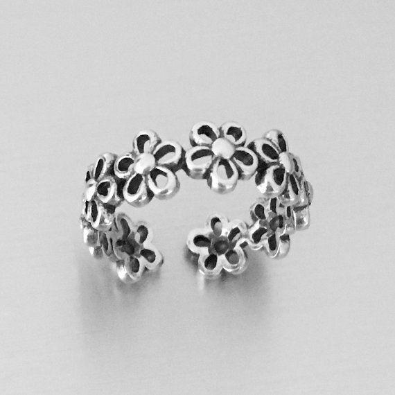 Argento fiore di Plumeria Toe, Midi e anello da mignolo