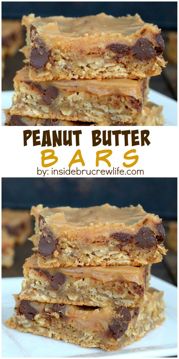 Peanut Butter Bars   Recipe   Chocolate chips, Glaze and Bar