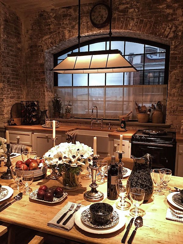 Ralph Lauren Home fall 2016 kitchen vignette. Brick or stone are perfect in kitchens. They add so much warmth.