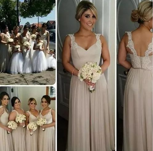 Bridesmaid Dresses Country 2018 Modest Champagne Lace Chiffon Beach Junior Maid of Honor Dress Bohemian Formal Wedding Party Guest Gowns