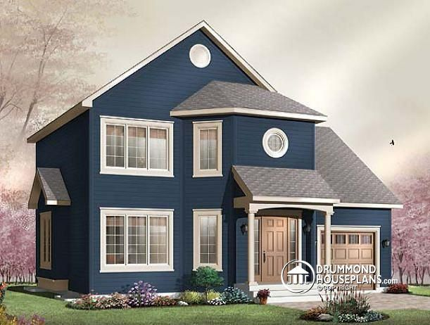 W3856 american cottage open floor plan 3 bedrooms for American cottage style homes