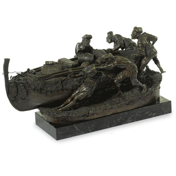 Giovanni de Martino B. 1870 ITALIAN FISHERMEN  signed Martino Sculptor.   bronze, brown patina, raised on a later green marble rectangular base  height 15 in.; width 14 in.; depth 27 in.