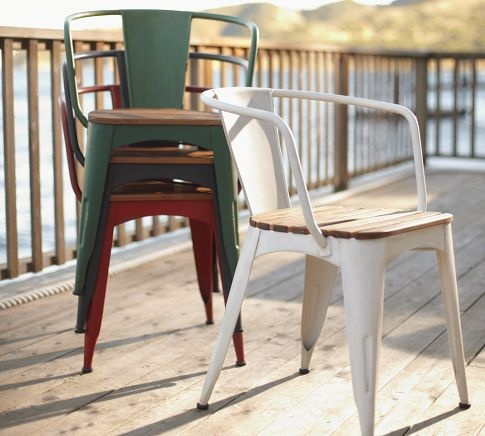Like these for the deck; they stack and they look like they'd last outdoors. A bit pricey though. $199