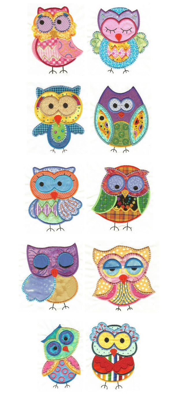 Designs by JuJu Owls applique set 1 machine embroidery designs