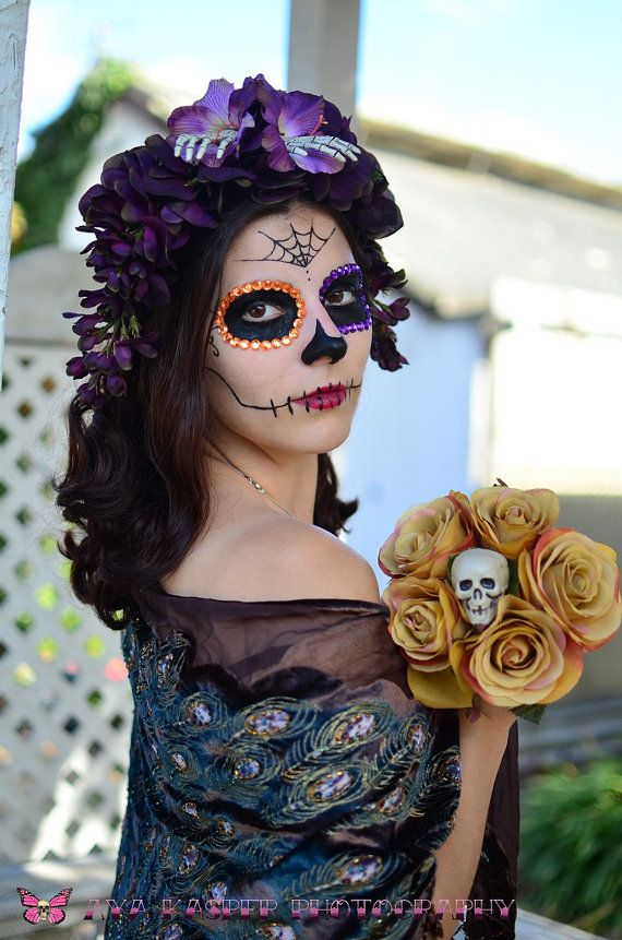 Purple Day of the Dead Crown Skeleton Dia de los Muertos Eggplant Lavender Wisteria Gladiola Flower Sugar Skull Headband Headdress Fascintor via Etsy