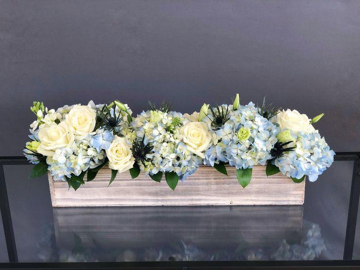31 Long Wood Box Arrangement White Blue In Hallandale