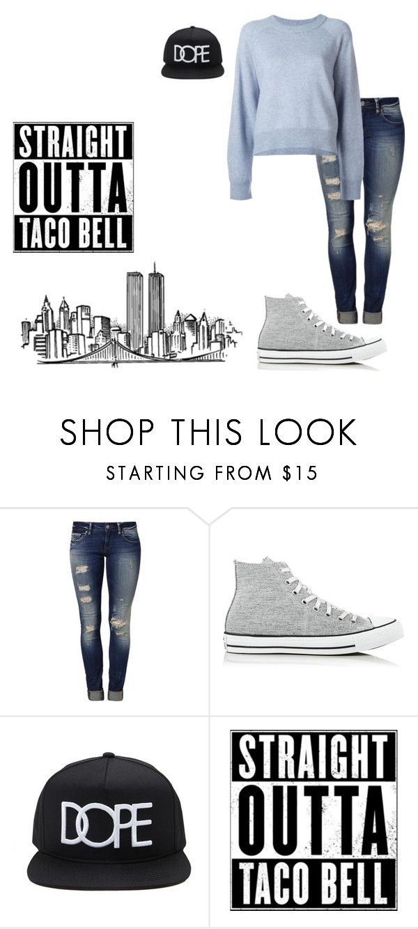 """""""OOTD ((late!!))"""" by giggly-taco ❤ liked on Polyvore featuring Mavi, Converse, 21 Men and T By Alexander Wang"""