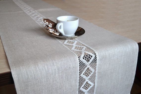 Lacey Natural Organic Linen Gray / White Table by LinenLifeIdeas, €26.09
