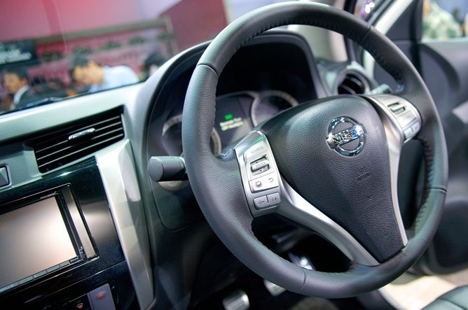 Steering of #Nissan #Navara #PickupTruck 2015. New Model Nissan Navara NP300 Bangkok, Thailand available for export at Jim Autos Thailand http://toyota-dealer.org/2015-nissan-navara-np300.html