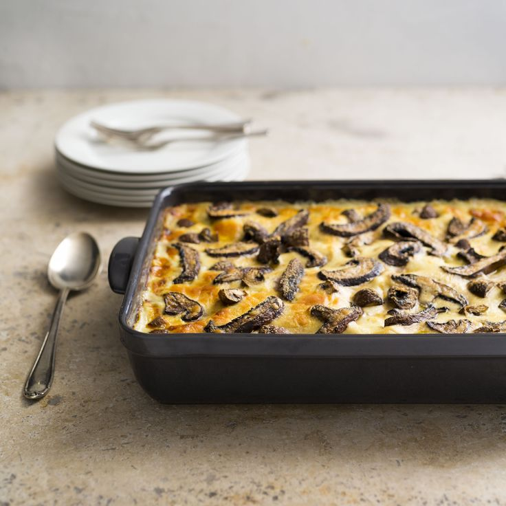 Chicken and mushroom lasagne | Assemble in small foil trays and freeze. Allow to defrost overnight in the fridge and then bake.  | Find this in our Casseroles and bake collection | www.my-thermomix.com.au