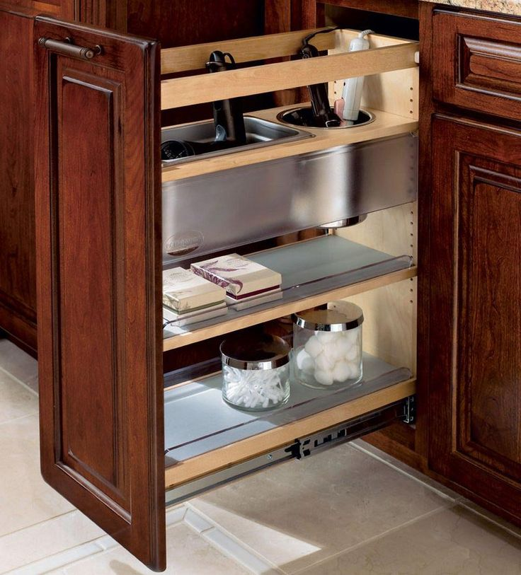 Storage solutions details vanity base pull out appliance organizer kraftmaid bath - Kraftmaid bathroom cabinets catalog ...