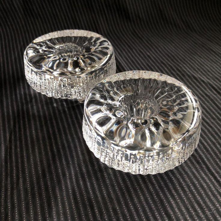 Iittala Ultima Thule Mid Century Modern Art Glass Candlesticks 60's Ice Design   #Iittala #MidCenturyModern