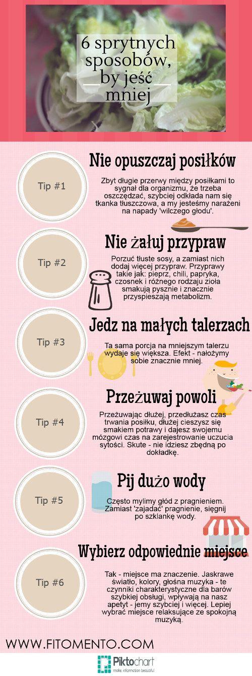 6 sprytnych sposobów, by jeść mniej.  Więcej na: https://www.fitomento.com/wiedza/ifografiki-fitness