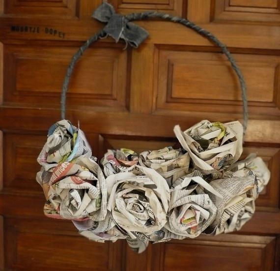 newspaper rose wreath