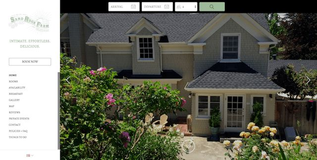 Sand Rock Farm - Just as the tagline suggests, this Lodgify customer's effortlessly beautiful website and harmonizing color scheme paints it as the perfect getaway.  #vacationrentalwebsites #vacationrentals #webdesign #website
