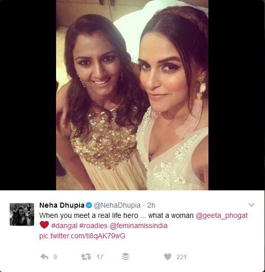 Neha Dhupia Tweets- With Geeta Phogat  @nehadhhupia @geetaphogat #movies #bollywood #films #wrestling #sports #india #beautiful #model