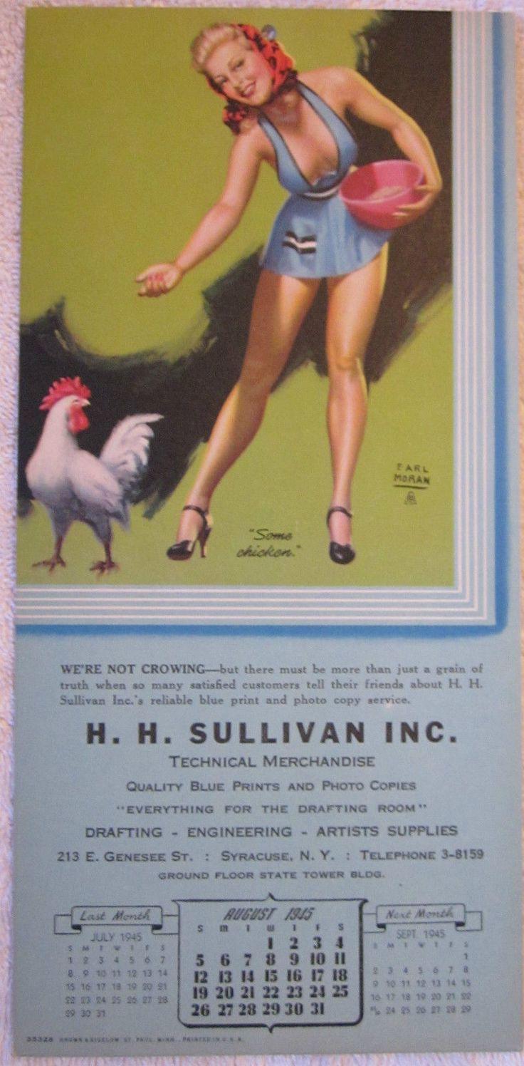 Vintage August 1945 Earl Moran Cheesecake Pinup Blonde Girl Calendar Chicken | eBay