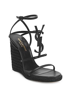 82218c99059 Saint Laurent Cassandra Leather Espadrille Wedge Sandals