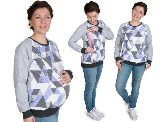 3 in 1 Maternity Pregnancy Sweatshirt Multifunctional Nursing Breastfeeding TUNIC  TOP with zippers  grey/purple pattern