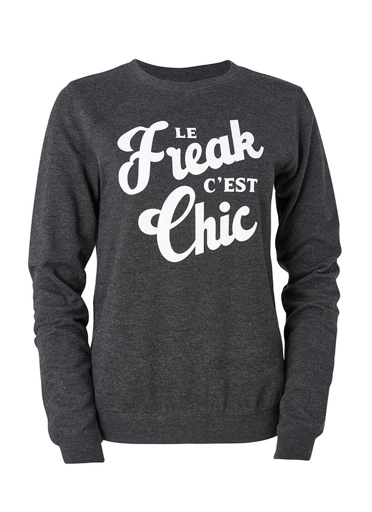 Joanie's Nile Slogan Sweatshirt features a retro, 'Le Freak, C'est Chic' design printed to the front, on a classic fit soft grey marl sweatshirt.