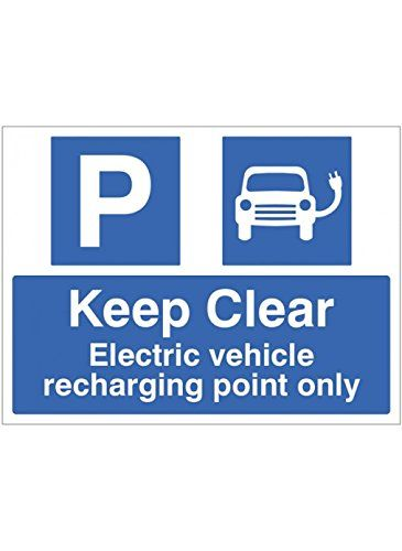 Caledonia Signs 17848K Keep Clear Electric Vehicle Recharging Point Only Sign, Rigid Plastic, 400 mm x 300 mm