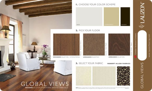 This room scene features hardwood made using Brazilian Cherry - part of Lauzon's International Series. Grown in the forests of Mexico, Central America, the Caribbean, South America and French Guinea, this stunning hardwood features earthy browns with soft burgundy undertones. Absolutely gorgeous, Brazilian Cherry adds flair without overwhelming your space.