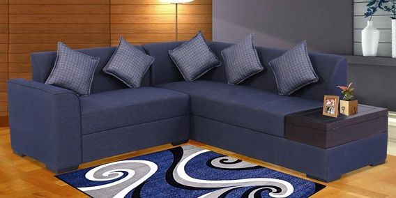 Buy Alvin Lhs Sofa In Blue Colour By Muebles Casa Online Modern Corner Sofas Sectional Sofas Furniture Pepperfry Product Sofa Corner Sofa Furniture