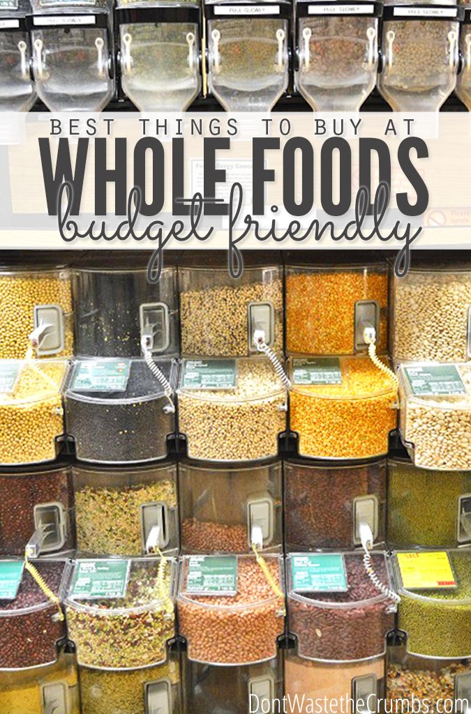 Do you avoid shopping at Whole Foods because you're afraid of spending your whole paycheck? Learn the budget tips for which foods are worth buying there, and which are always a great deal so you can actually save money! You CAN shop at Whole Foods without going broke! :: DontWastetheCrumbs.com