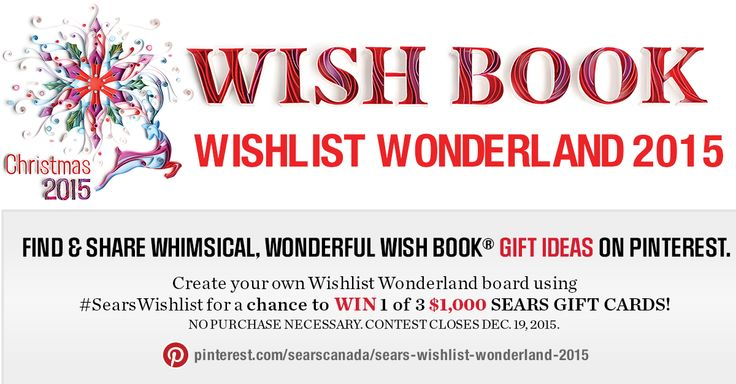 Create your own Wishlist Wonderland board using #SearsWishlist for a chance to win 1 of 3 $1,000 Sears Gift Cards!