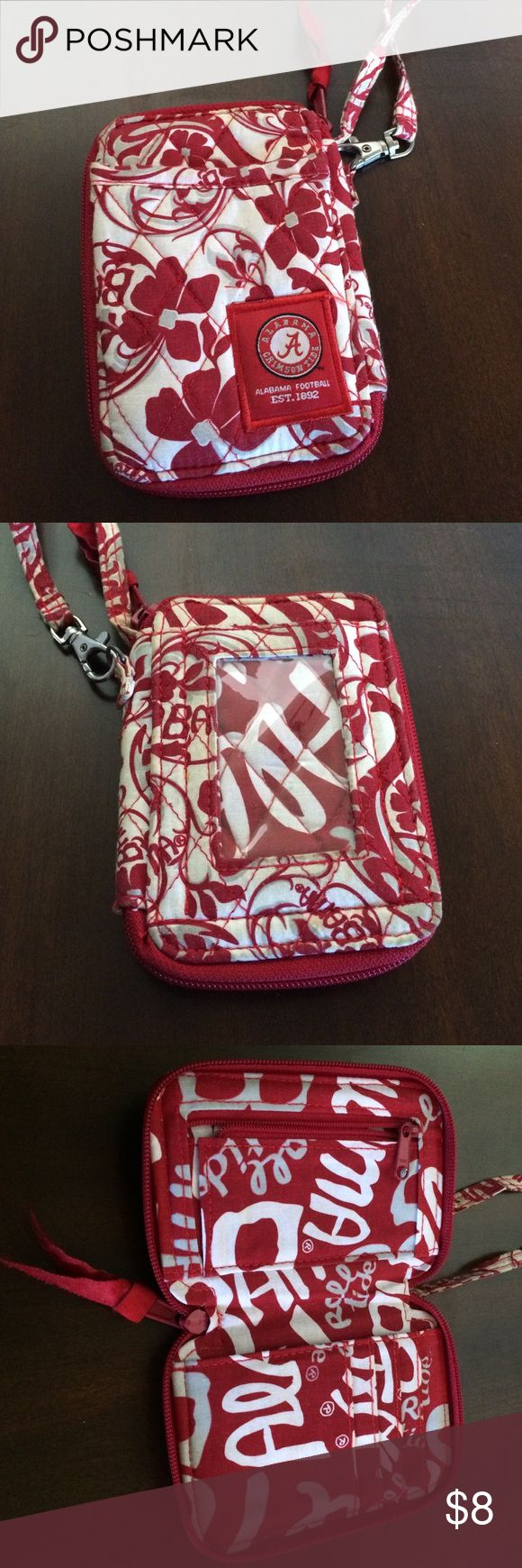 Alabama quilted wrist wallet clutch Crimson and white floral quilted wallet with wrist strap. Outside pocket could hold cell phone. Inside is in perfect condition, outside is a little dirty. No stains so it could probably be washed. Bags Clutches & Wristlets