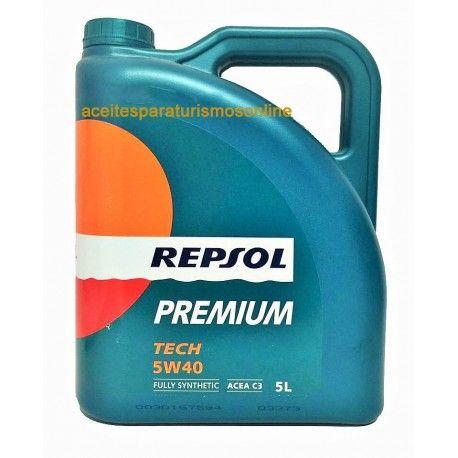 Lubricante de coches marca REPSOL PREMIUM TECH 5W40 5L. Aceites de Coche especiales para motores de coche. Repsol Premium, apto para aceites de coche.