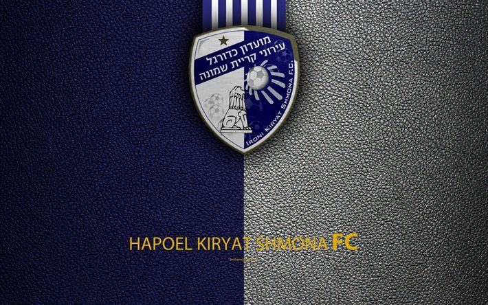 Download wallpapers Hapoel Kiryat Shmona FC, 4k, football, logo, emblem, leather texture, Israeli football club, Ligat HaAl, Kiryat Shmona, Israel, Israeli Premier League
