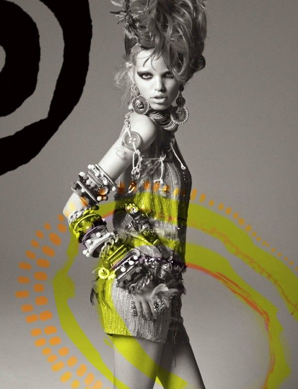How to make a white background shoot interesting? Well, Greg Kadel demonstrates here that it is possible in this editorial starring Daphne Groeneveld for Numéro #124. The  impeccable, tribal inspired styling by Bill Mullen this 8 pages series was also the cover shoot.