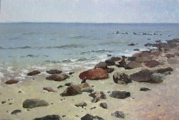 Rocks of the Baltic Sea landscape painting, oil on canvas on hardboard, by Daniil Belov