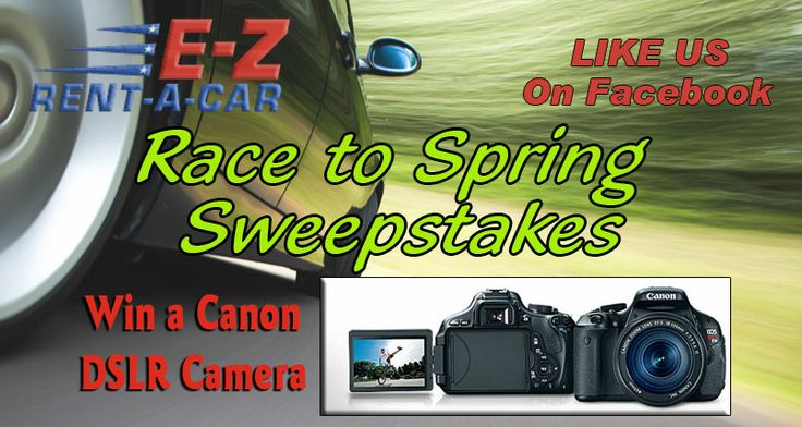 Check out this from Race to Spring Sweepstakes from E-Z Rent-A-Car. Enter to win a ACannon DSLR Camera.