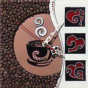 кофейные часы, сердечки, чашка кофе,