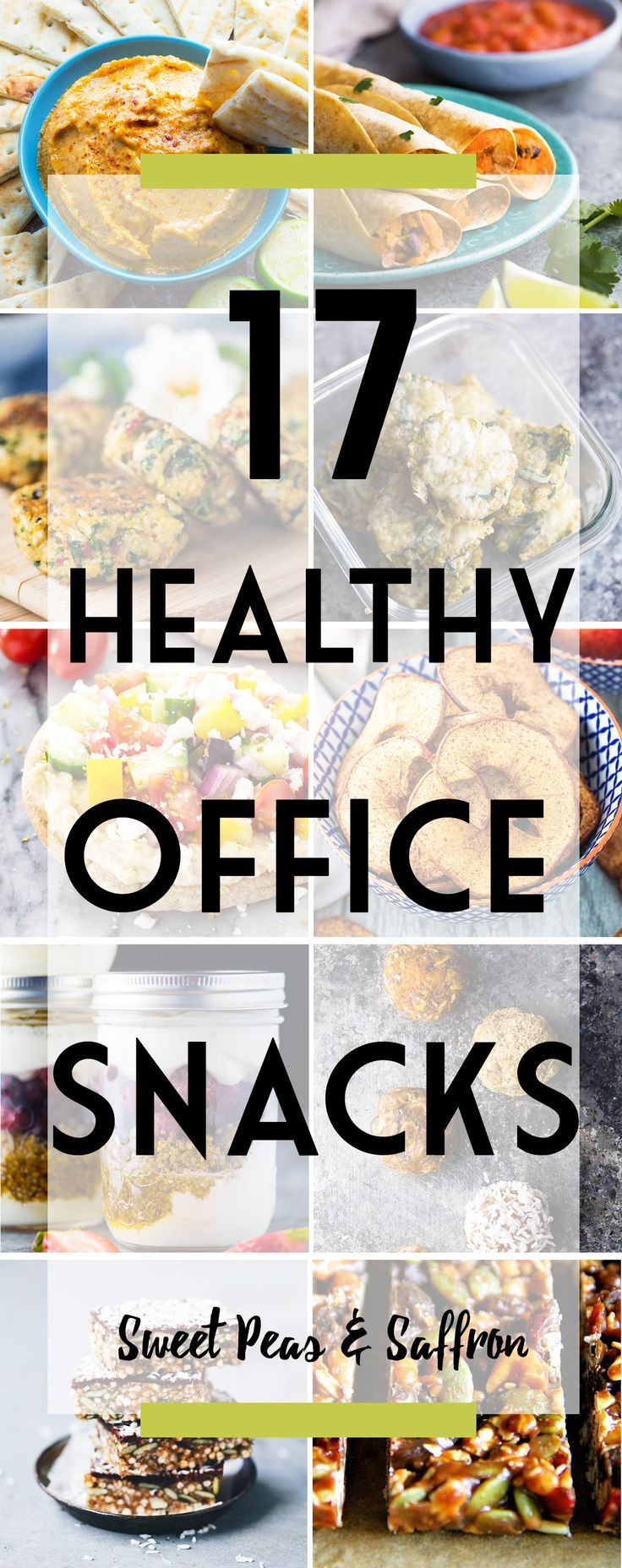 These healthy office snacks will keep you going in the afternoon while keeping things light. Tons of easy portable recipe ideas, and perfect for prepping on meal prep Sunday!: