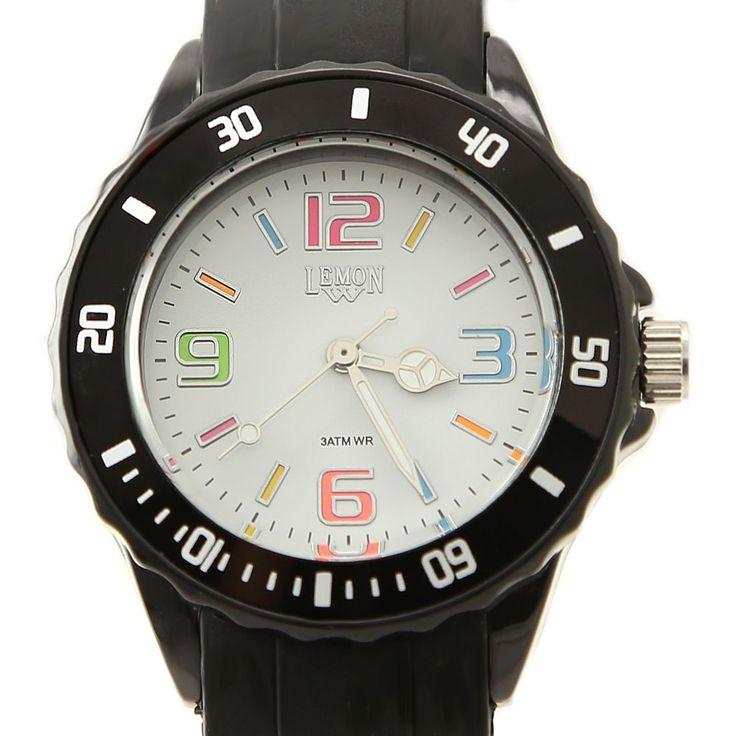 FW893Q Black horlogekast siliconen Zwarte band van vrouwen kleur nummer te bellen Fashion Watch