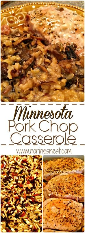 This is a hearty casserole made with wild rice, pork chops, mushrooms and a rich creamy sauce. So yummy they'll be coming back for seconds!