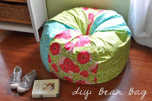Links to a tutorial for DIY Adult Size Bean Bag Chair - would be great for a teen's room - personalize with sports team or other interests.