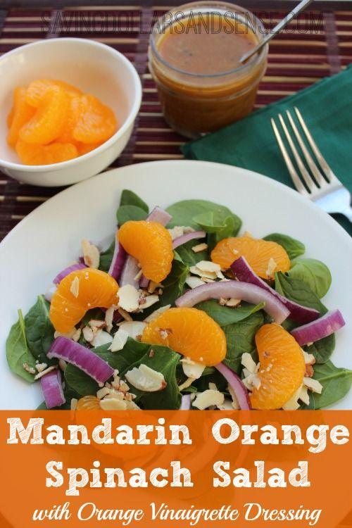 Mandarin Orange Spinach Salad with Homemade Orange Vinaigrette Dressing