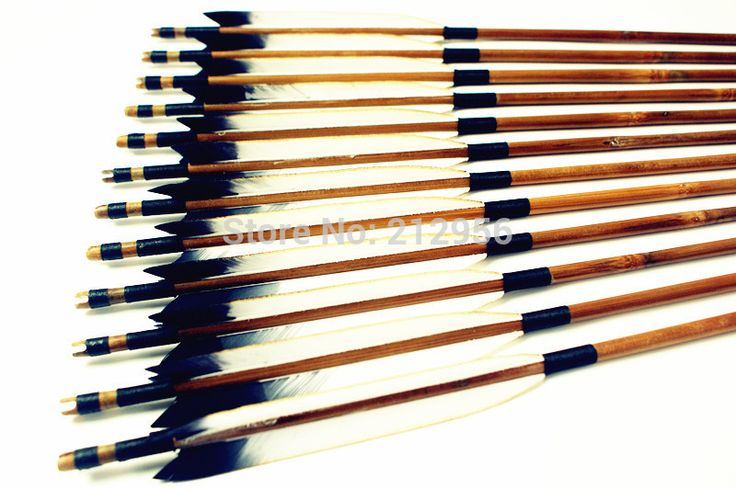 12PK Japan Traditional White And Black Feathers Self Nock Bamboo Arrows For YUMI Bow YMWBBT2 #Affiliate