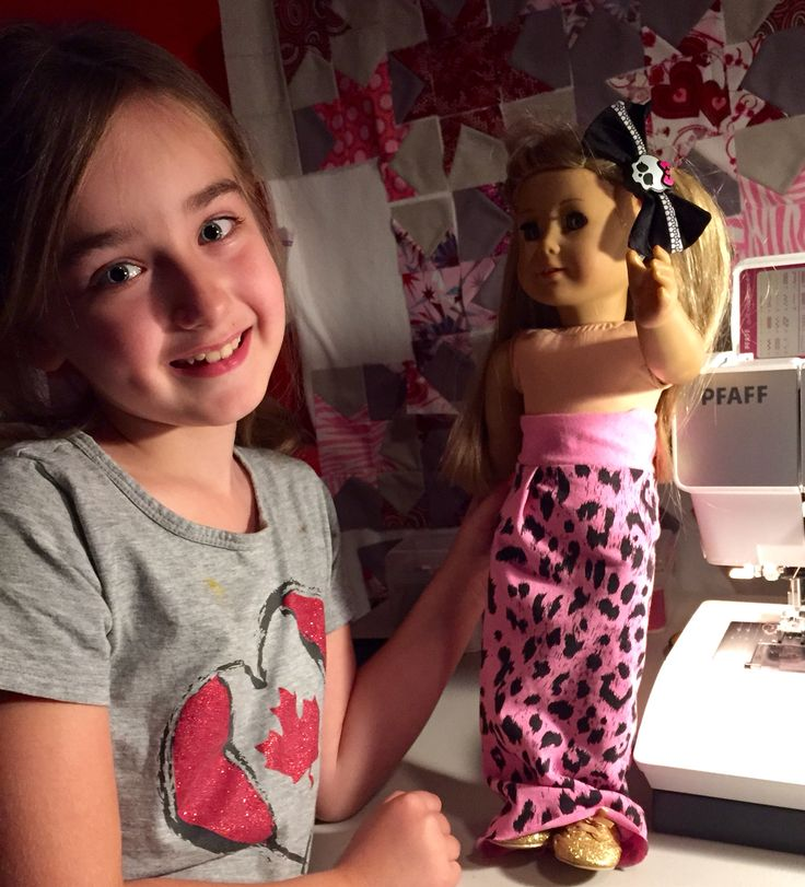 Sprout's first go with pattern design and using the new Pfaff. American Girl doll maxi skirt