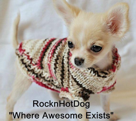 Hand Knit Chocolate Cherry Chip Dog Sweater par RocknHotdog sur Etsy