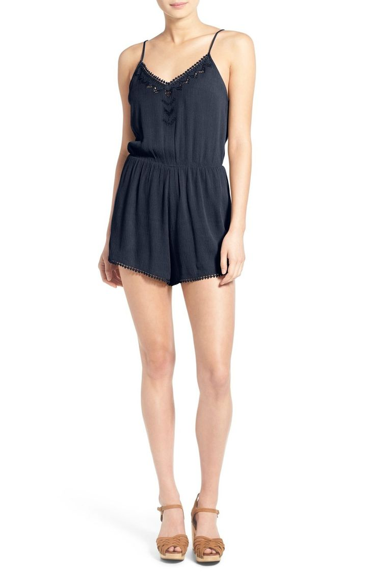 Lush 'Cali' Lace Trim Romper at Nordstrom.com. Demure lace traces the hem and V-neckline of a gauzy romper finished with geometric embroidered die cuts and an elastic waist for feminine definition.